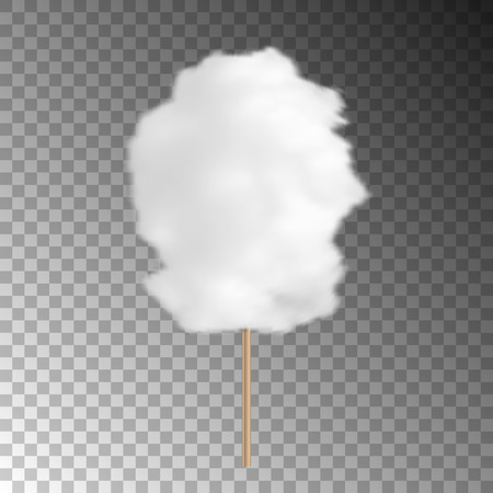 Realistic cotton candy isolated on transparent background
