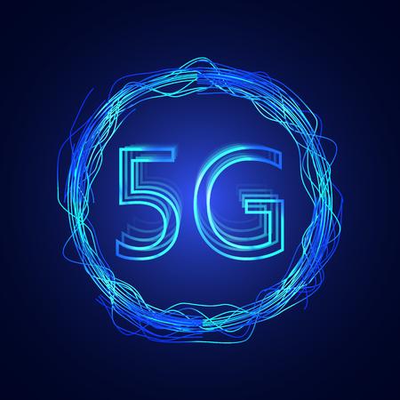 5G technology background. Digital data background. New generation mobile networks.  イラスト・ベクター素材