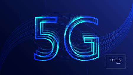 5G technology background. Digital data background. New generation mobile networks. Ilustração