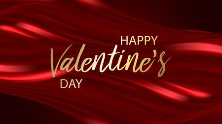Cartolina d'auguri di San Valentino felice su sfondo rosso, illustrazione vettoriale