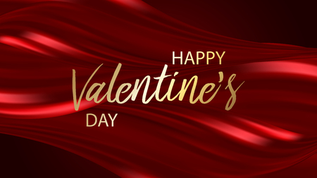 Happy Valentine's Day Greeting Card on red background, vector illustration