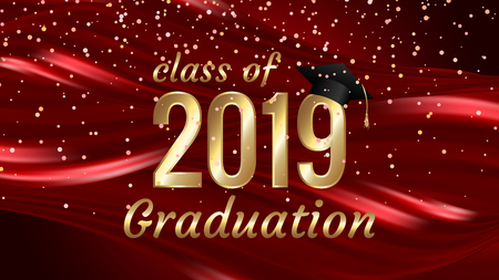 Class of 2019 graduation text design for cards, invitations or banner Banco de Imagens - 121766205