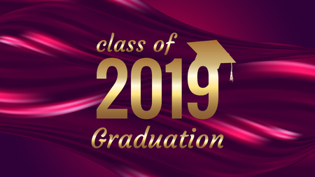 Class of 2019 graduation text design for cards, invitations or banner Illusztráció