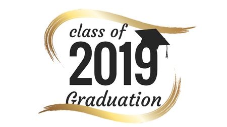 Class of 2019 graduation text design for cards, invitations or banner Illustration