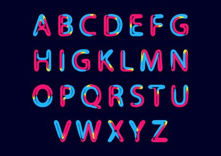 Alphabet with letters from A to Z. ABC art alphabet illustration. Retro neon effect.
