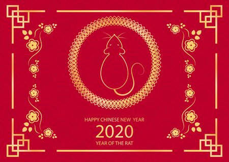 Chinese New Year festive vector card design with rat, zodiac symbol of year 2020