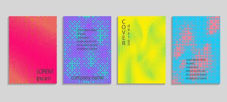 Minimal abstract vector halftone cover design template. Future geometric gradient background. Vector templates for placards, banners, flyers, presentations and reports Archivio Fotografico - 131841830
