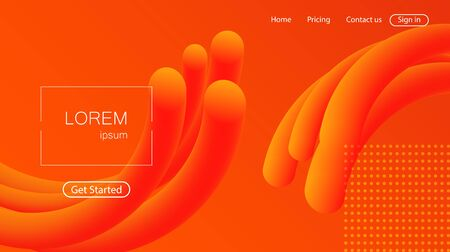 Website abstract background. Bright colorful dynamic shapes landing page Illustration