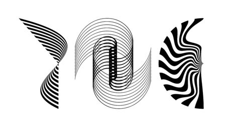 Stripped abstract elements of black lines. Optical illusion. Vector illustration.