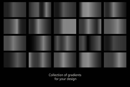 Collection of black gradient backgrounds. Set of black metallic textures. Vector illustration