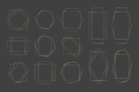 Collection of golden polygonal luxury frames. Set of gold crystal shapes for wedding invitation, luxury templates, decorative patterns Illustration