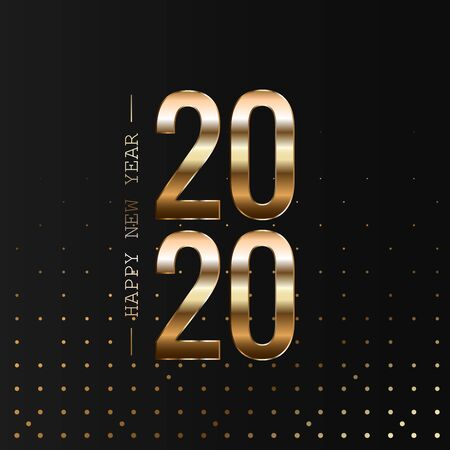 Happy New Year 2020 Holiday Vector Illustration. Shiny composition with sparkles.
