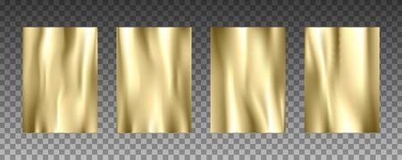 Gold foil 3d realistic vector textures set Illustration