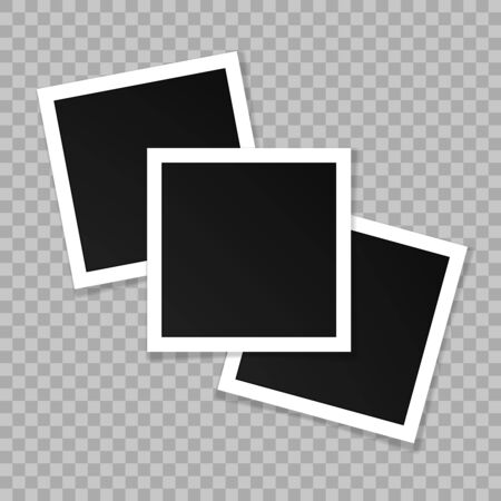 Set of square vector photo frames. Collage of realistic frames isolated on transparent background. Template design. Banque d'images - 143329198
