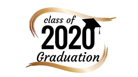 Class of 2020 graduation text design for cards, invitations or banner