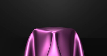 Empty podium covered with pink silk cloth. 3d rendering