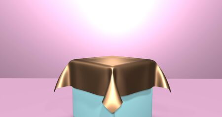 Empty podium covered with golden silk cloth. 3d rendering