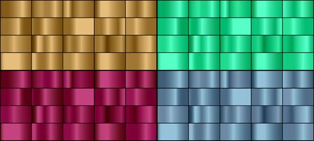 Vector set of colorful metal gradients.
