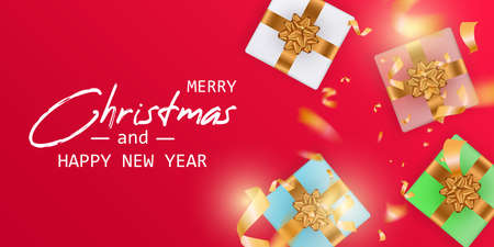Marry Christmas and Happy New Year card. Christmas banner.