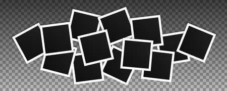 Set of square vector photo frames. Collage of realistic frames isolated on transparent background. Template design. 向量圖像