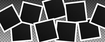 Set of square vector photo frames. Collage of realistic frames isolated on transparent background. Template design. Ilustrace