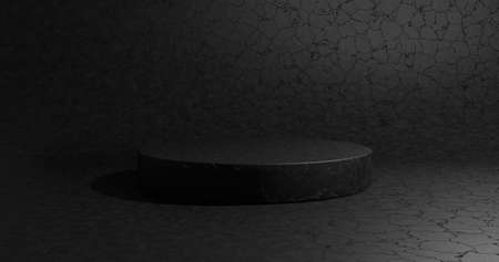 Empty black podium for display product. 3D rendering.