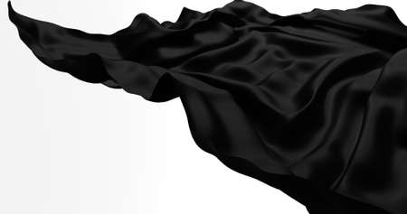 Black flying satin, cloth isolated on white background. 3d render
