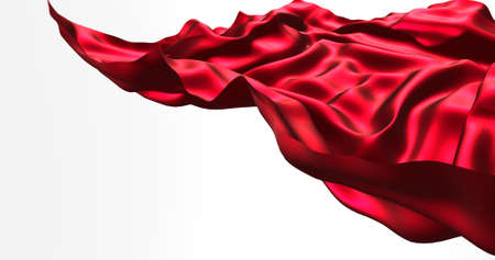 Red flying satin, cloth isolated on white background. 3d render