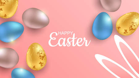 Greeting Easter background with realistic Easter eggs. Top view with copy space
