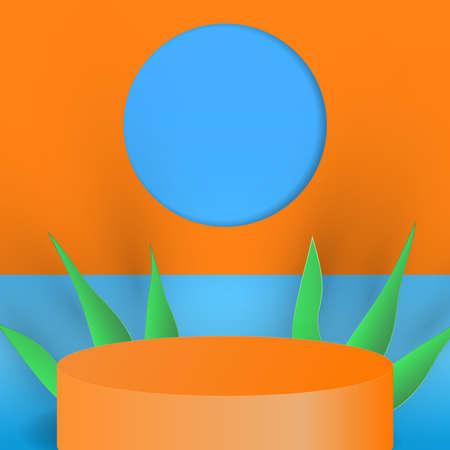 Minimal scene with cylinder podium background. 3d vector illustration.