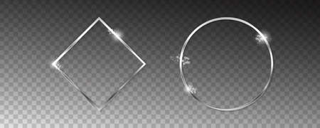 Vector silver frames with lights effects. 向量圖像