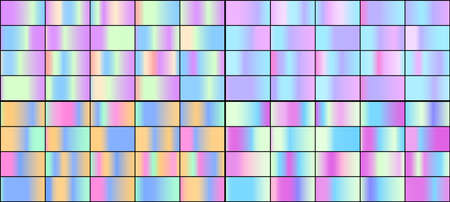 Vector set of colorful neon holographic gradients.