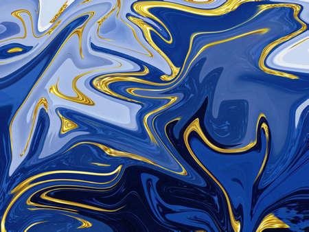 Blue liquid marble texture background