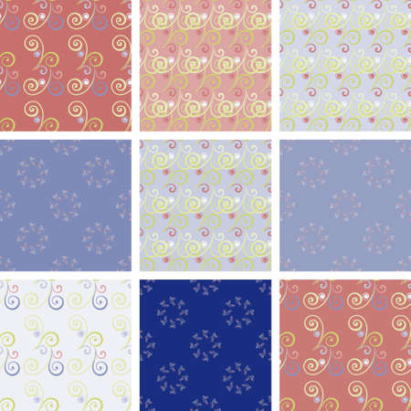 Set of seamless vintage patterns with romantic curls. Ideal for printing, textiles