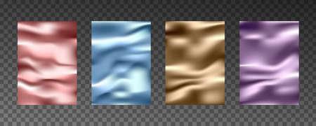 3d realistic textures of gold foil, silk texture, paper, plastic film. 向量圖像