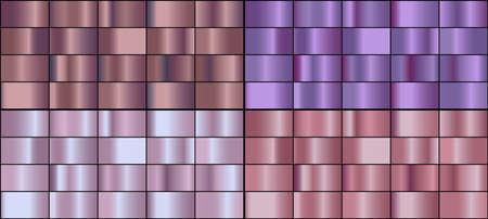 Vector set of colorful rose gold metal gradients. 向量圖像