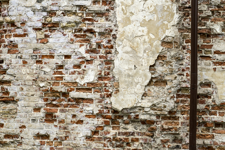 constructional: Old red brick wall with sprinkled white plaster texture background from oldtown Stock Photo