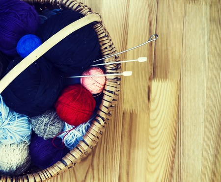 color balls: knitting wool color balls with needles in the basket