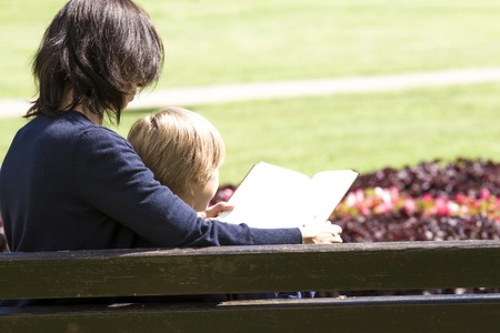 mother on bench: Mother and son reading book on bench in the park. Back view