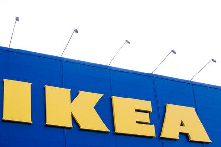 ikea: VILNIUS,LITHUANIA - September 18, 2016 :The Ikea logo in Vilnius September 18, 2016. IKEA is the worlds largest furniture retailer. Founded in Sweden in 1943. Editorial