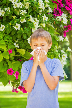 Allergy. Kid is blowing his nose near blossoming flowers