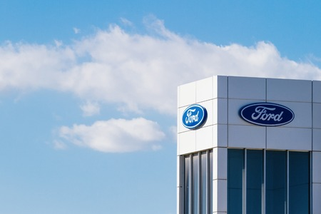 Finestrat, Spain - November 14, 2017: Ford motor company logo on dealership building on November 14, 2017 in Finestrat, Alicante province, Spain.