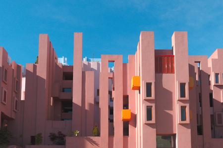 Walls of La Muralla Roja building located in Calpe, Spain 免版税图像 - 96185049