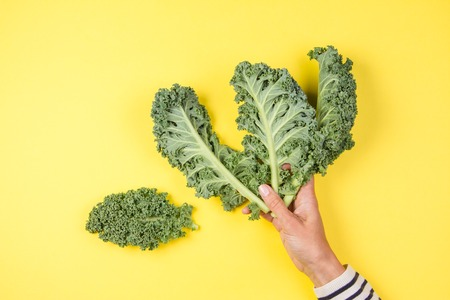 Woman hand holding a bunch of kale leaves over yellow background Zdjęcie Seryjne