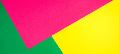 Color papers geometry flat composition banner background with yellow, green, and pink tones