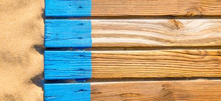 Wooden beach boardwalk with sand banner background