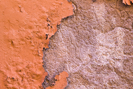 Damaged Painted Orange Brown Old Wall Background Texture.