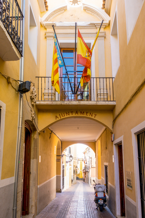 Colorful street in the historic center of Villajoyosa, Spain.