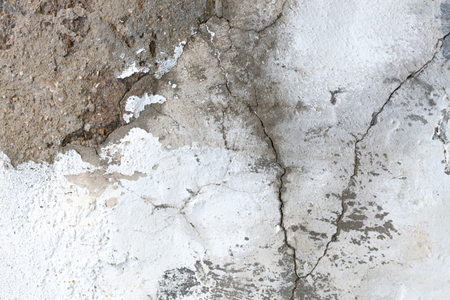 Old white grunge plaster wall with cracked structure background texture