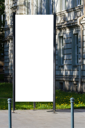 Mock up. Blank outdoor advertising column outdoors, public information board in the city. Standard-Bild